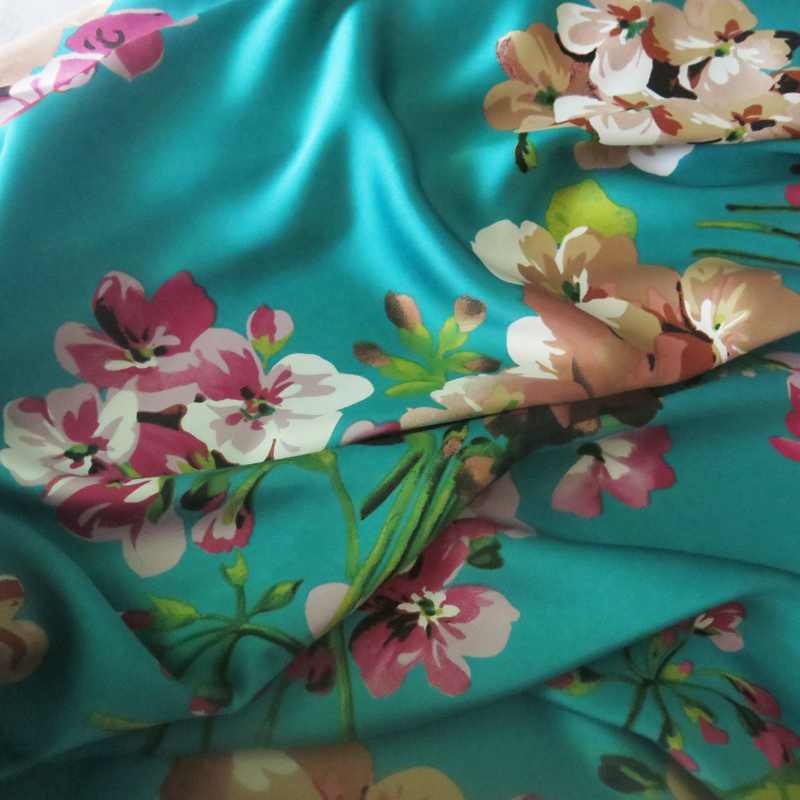 100*150cm,Soft Bridal Dress Material Crepe Satin Charmeuse Fabric Aquamarine Pink Burgundy image
