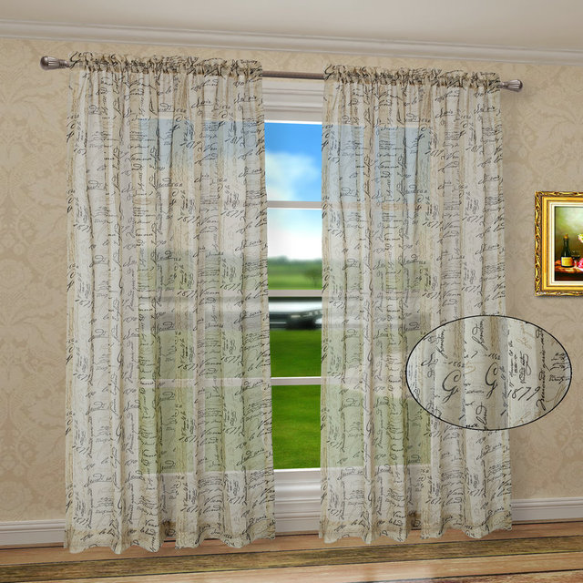 Pack Of 2 CaliTime Window Curtains Panels 50 X 63 French Script Faux Linen