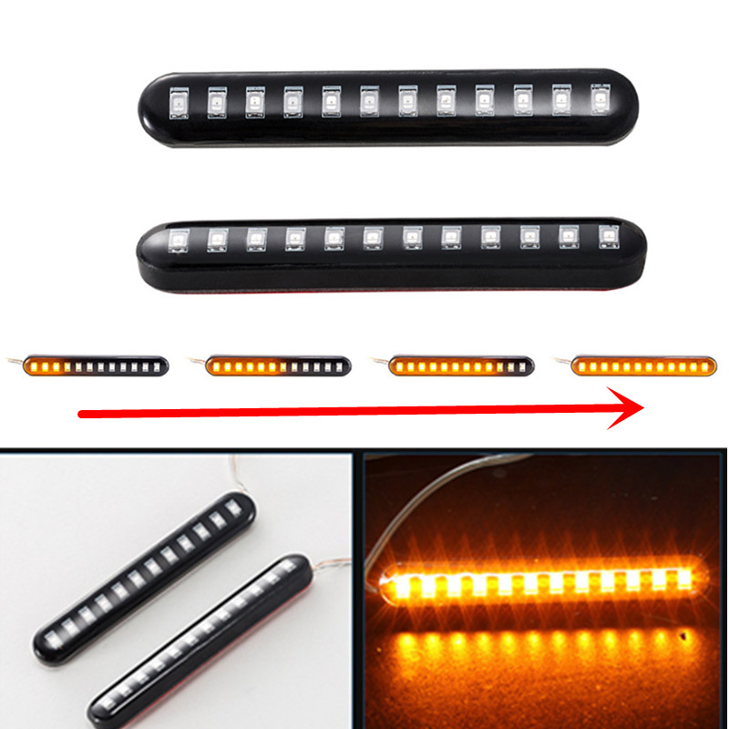 2Pcs Universal Sequential Water Flowing 12 LED Mini Strips Motorcycle Car Strips Led Turn Signal flasher Lights Amber marke lamp image