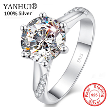 90% OFF! Original Pure 925 Solid Silver Wedding Rings for Women Bride Gift Jewelry Solitaire 1 Carat CZ Diamant Fine HR363