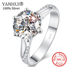 90% OFF! Original Pure 925 Solid Silver Wedding Rings for Women Bride Gift Jewelry Solitaire 1 Carat CZ Diamant Fine Rings HR363(China)