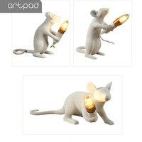 Artpad Creative White Rat Mice Light EU/ US Plug In Bedside Lamps for Bedrooms DC12V Art Desk Decorative Lamp Home Lighting