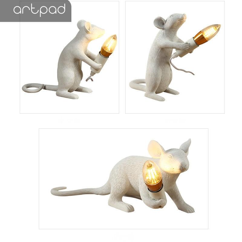 Artpad Creativo Bianco Rat Mouse Luce EU/Spina DEGLI STATI UNITI In Lampade Da Comodino per Camere Da Letto DC12V Arte Scrivania Lampada Decorativa casa di Illuminazione