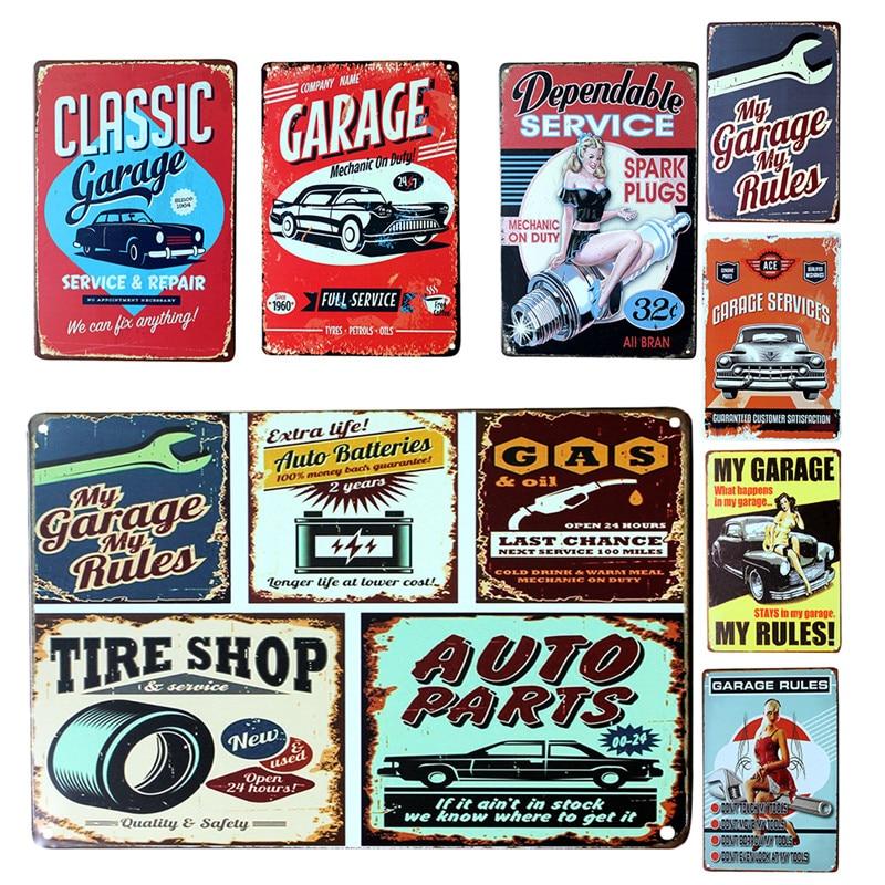 Vintage Metal Tin Sign Car Repair Shop Garage Retro Plaque