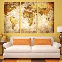 5 פנל מפת עולם רטרו אופנה המפה העולמית גאוגרפיה עיצוב חדר השינה של ילד עיצוב אמנות קיר משרד הדפסי בד ציור סיטונאי