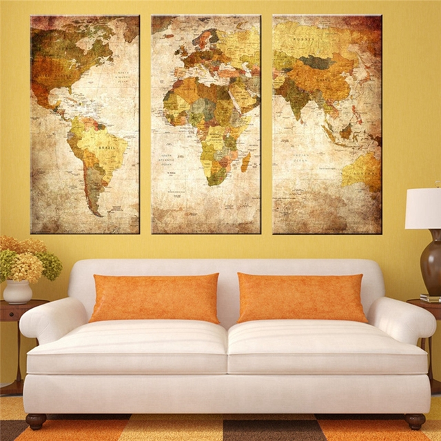 5 panel Retro World Map Fashion Global Map Geography Office Wall Art ...