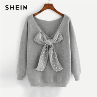 SHEIN Grey Preppy Elegant Plus Size Dropped Shoulder Bow Detail Solid Pullovers Sweater Autumn Casual Workwear Women Jumpers