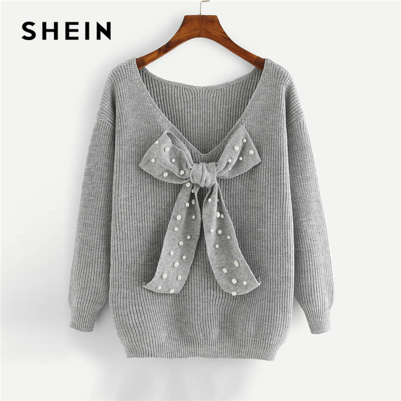 SHEIN Preppy Elegant Plus Size Dropped Shoulder Bow Detail Solid Pullovers Sweater Autumn Casual Workwear Women Jumpers