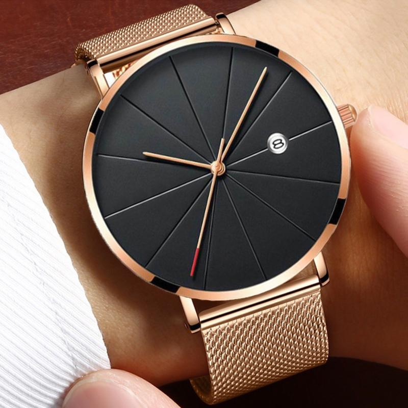 Mens Watches Ultra-thin Stainless Steel Watch Sports Leisure Quartz Wristwatch Complete Calendar Date Clock Masculino Relogio