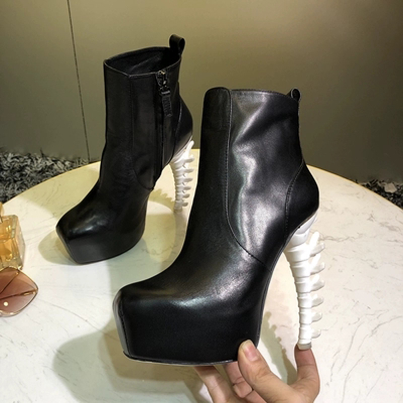 Rock Style Ladies Strange Fish Bone Heel Ankle Boots Super High Heels Female Gladiator Stage Runway Bottines Woman Short Boots
