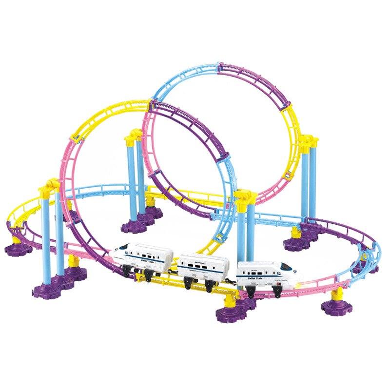 Nouvel assemblage de Puzzle de véhicule ferroviaire électrique à grande vitesse jouet Train enfants bricolage Puzzle jouet montagnes russes Compatible garçon jouets