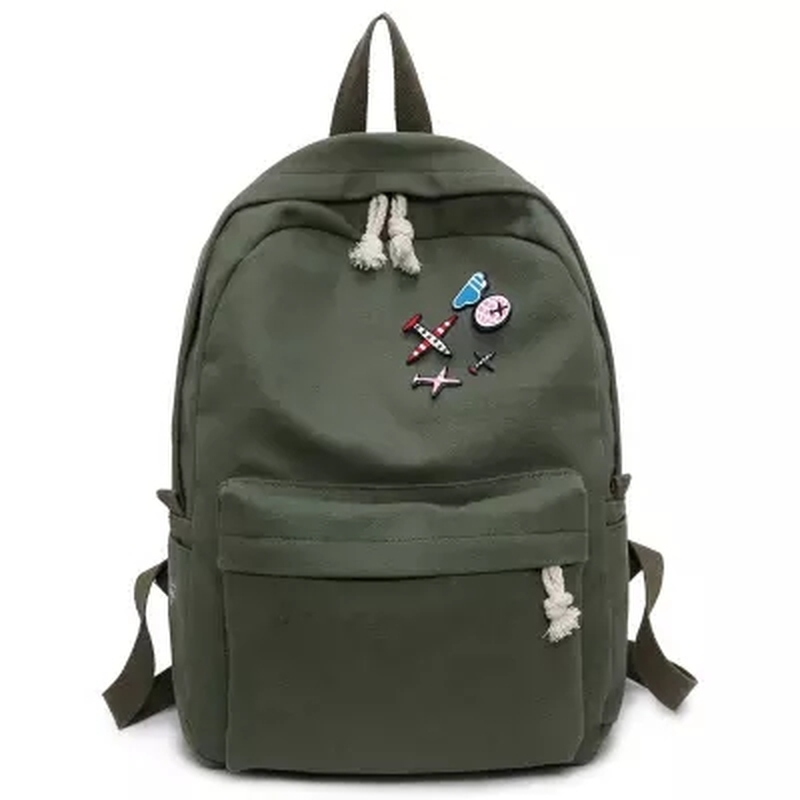 Multi-function Exquisite Backpack Large capacity fashion simple canvas school bags Multi-function pure color casual backpacks multi function green