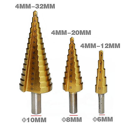 4mm to 12mm 20mm 32mm HSS Steel Step Drills Bit Tool Set Hex Shank Coated Metal Drill Bit Cut Tool Set Hole Cutter 4-12/20/32mm g 3pcs set quick change hex shank larger titanium coated m2 tool step drill bit set 71960 t