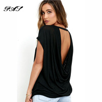 Open Back Casual Short Sleeve T Shirt Summer Style Women Clothing Casual Backless O Neck Tops