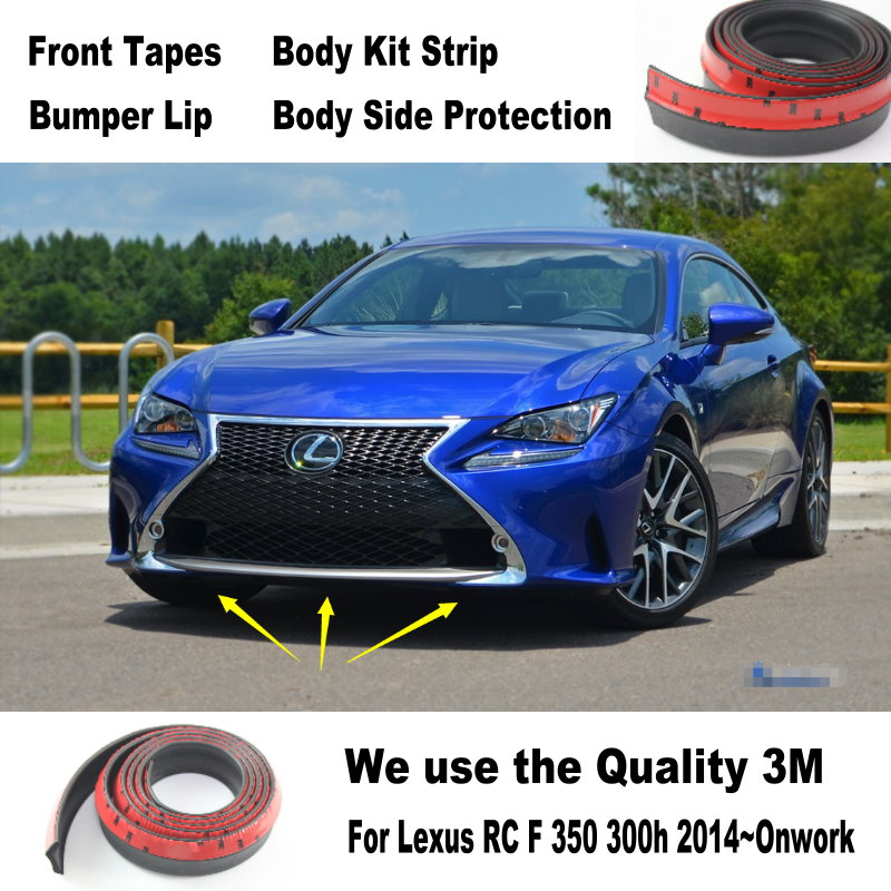 Car Bumper Lips For Lexus RC F 350 300h 2014~Onwork / Car Tuning / Body Kit Strip / Front Tapes / Body Chassis Side Protection