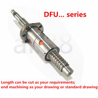 DFU2005 500mm 300 350 400 450 500 550 600 650 mm C7 ball screw with BK/BF15 end machined 2005 double ball nut DFU2005 ball screw