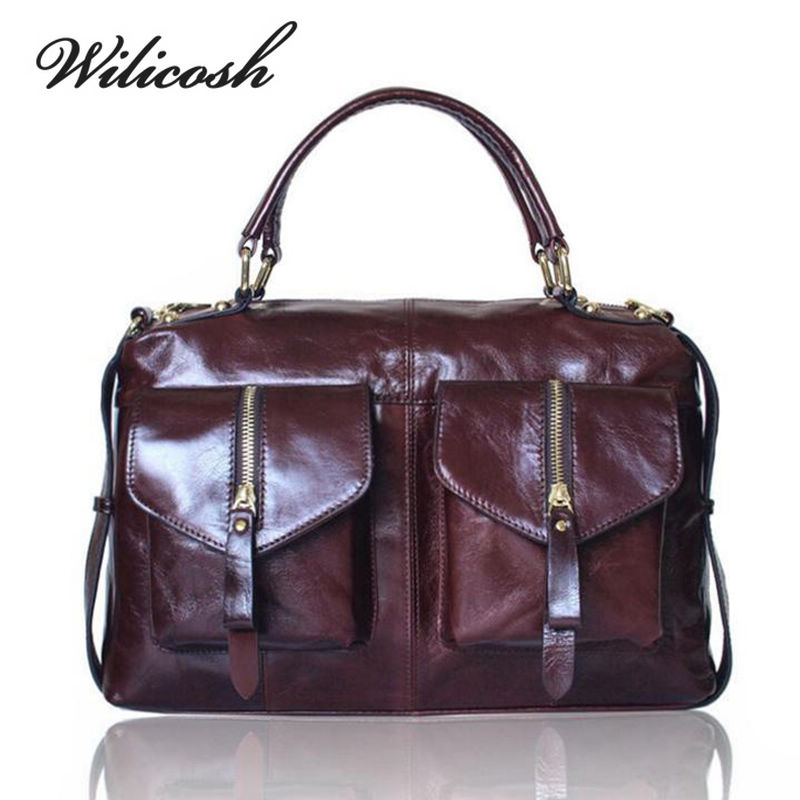 Wilicosh Famous Brand Women's Bag Genuine Leather Black Women Messenger Bags Vin