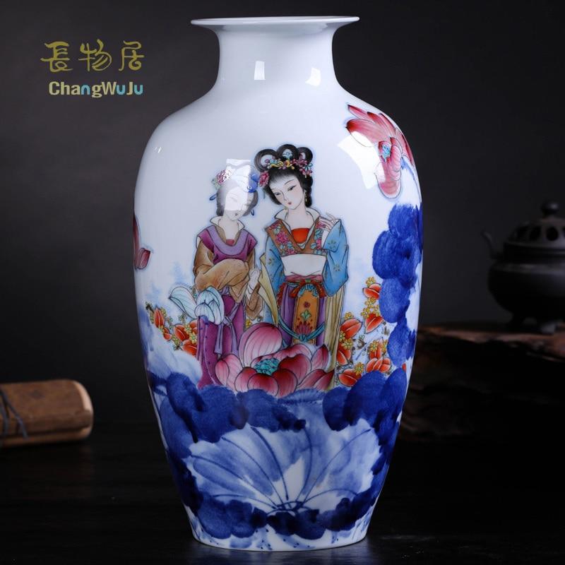 Jarrón de la familia de porcelana rosa pintado por Caozhiyou como decoración del hogar Changwuju en Jingdezhen