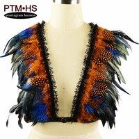 Ravena Feathers Bondage Epaulettes Shoulder Wings Steampunk Vintag Goth Body Harness Angel Feather BurningMan Halloween Costume