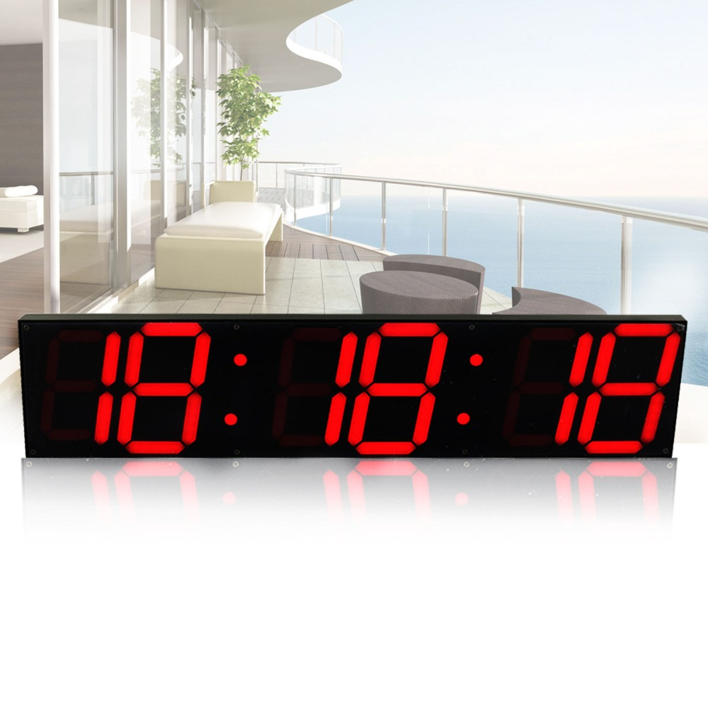 Remote Control Oversize Led Wall Clock 3D Big Screen Digital Timer 6 Digits Stopwatch Countdown Alarm Clock