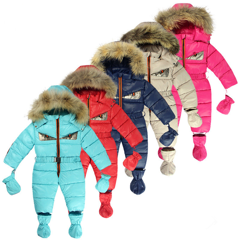 Newborn Baby Snowsuit White Duck Down Real Fur Infant Boys Jumpsuits Down Jacket Newborn Girls Outwear Coat Snow Wear infant snowsuit new toddler boys girls winter suits thermal down jacket thickening jumpsuit fur collar baby snow wear