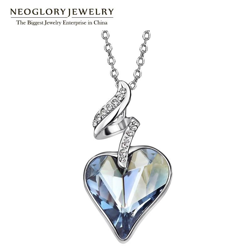 Neoglory ავსტრიული კრისტალი Rhinestones ოთხი ფერი გულის სიყვარულის ჯაჭვი ყელსაბამები და გულსაკიდი ქალთა 2017 საჩუქარი ინდოეთის სამკაულები JS4 HE1
