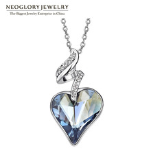 Neoglory MADE WITH SWAROVSKI ELEMENTS Crystal Czech Rhinestone Platinum Plated Heart Love Pendant Necklace For Women New 2014 цена