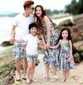 Бесплатная Доставка Семья наряды хлопок Летом Случайные Мать девушки долго Жилет Платье Отец мальчиков наборы