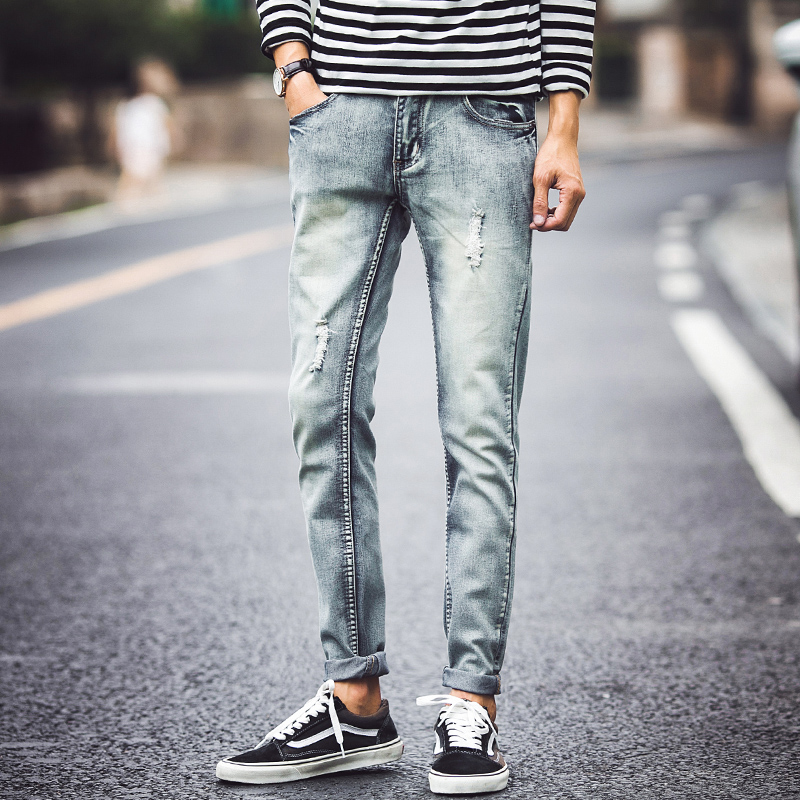 2018 mens jeans male straight slim jeans stretch Korean winter, all-match youth retro hole beggar long pants
