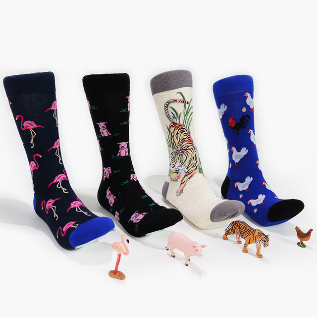 31270029c54d8 PEONFLY hommes chaussettes femmes animal Flamingo chien cochon nouveauté  chaussette coton peigné chaussettes drôles hommes grande