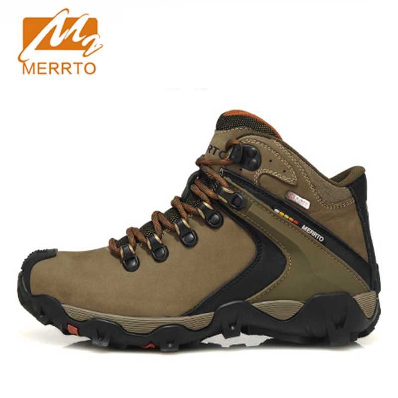 2017 Merrto Mens Hiking Shoes Trekking Boots Event Waterproof Outdoor Sport Shoes Full-grain leather For Men Free Shipping 18325