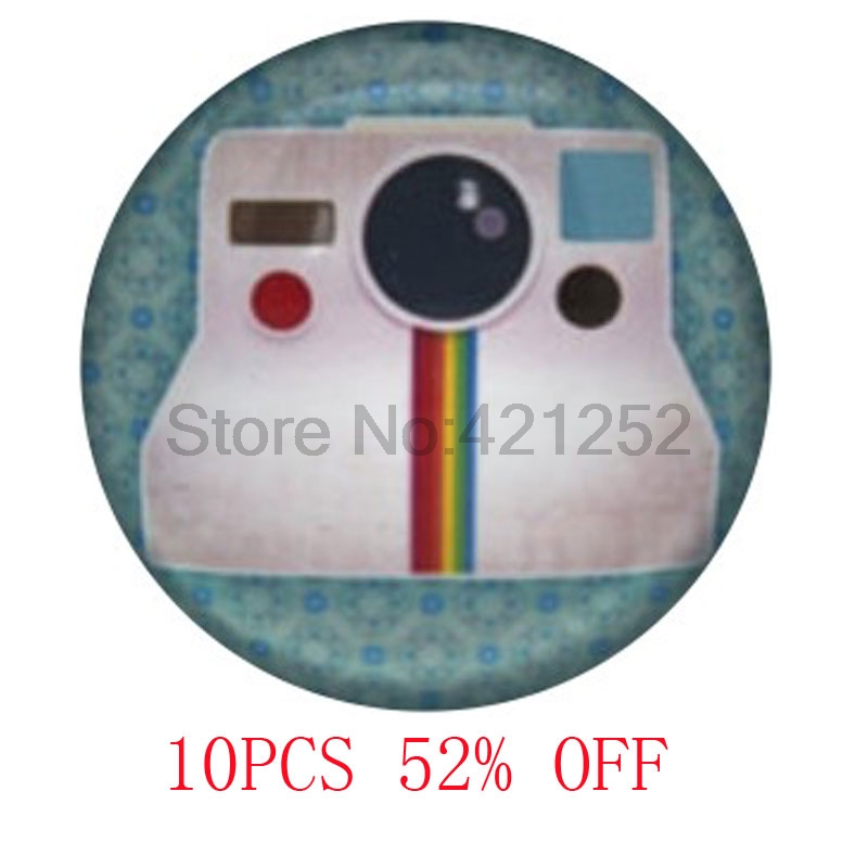 Vintage Polaroid Camera, Background Photography glass Cabochon Necklace AA1 keyring book ...