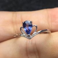 Wedding Ring 18K White Gold Natural sapphire ring Real original blue sapphire Ring 4*6mm 1.25ct