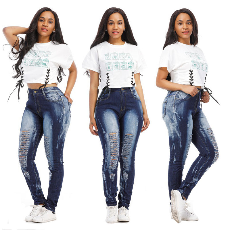High Street Fashion Womens Skinny Ripped Vintage Knee Denim Jeans Pants Blue Hole Pencil Stretch High Waist Casual Trousers  jeans womens 2017 spring korean fashion vintage badge ripped blue denim pants trousers long pencil pants jeans femme b67