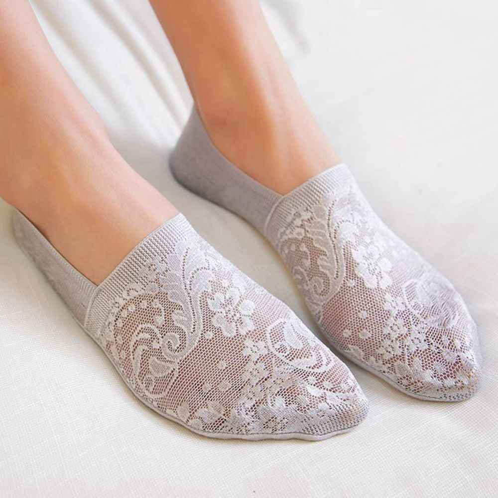 Low Invisible Ankle Transparent Hollow Out Socks Spring Summer Style Woman Girls Lace Flower Short Boat Sock Antiskid Slippers