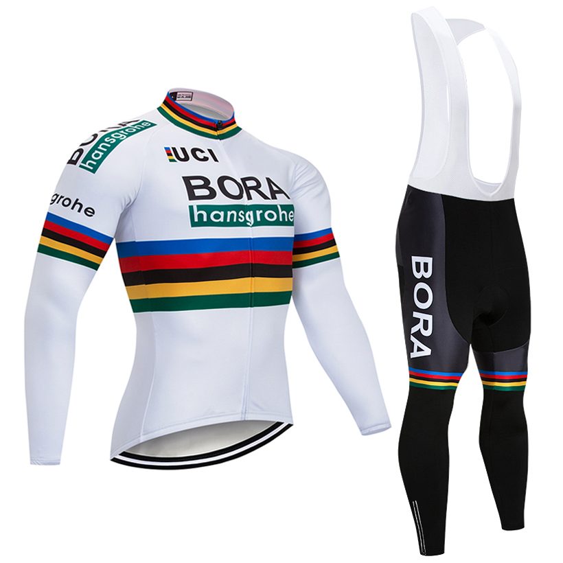 Winter 2018 TEAM bora Cycling jersey 9D pad pants suit Ropa Ciclismo mens windproof Thermal fleece Bicycle Maillot Culotte wear pocket side belted culotte pants