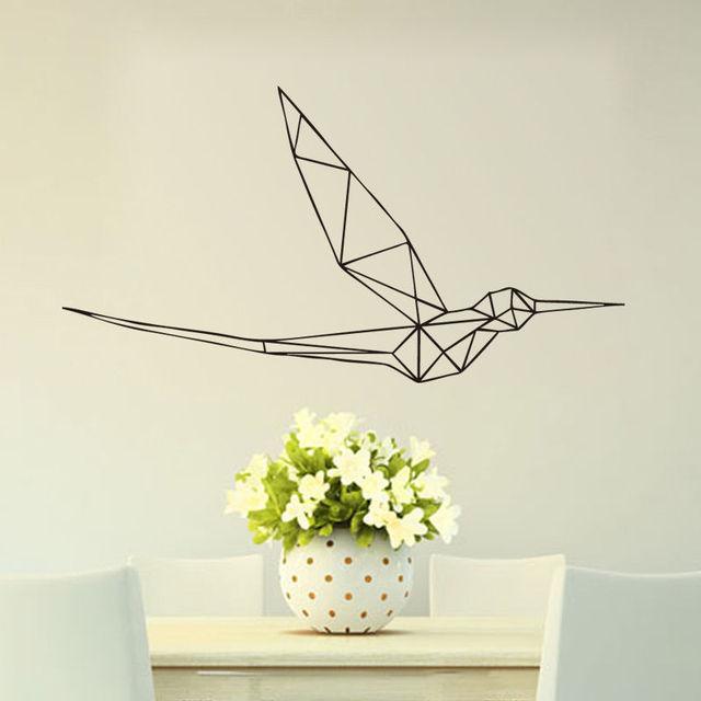 A013 Hummingbird Geometric Decal Home Decor Bedroom Flying Bird Vinyl Wall Sticker Free Shipping