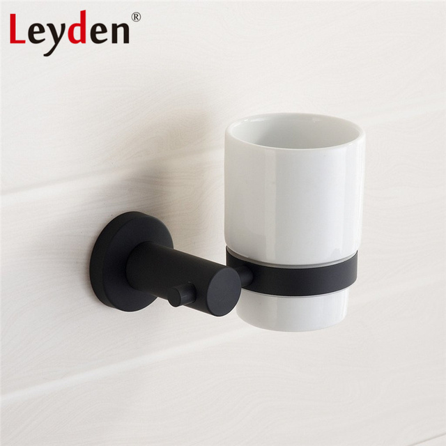 Leyden Sus 304 Stainless Steel Round Tumbler Toothbrush Holder Black Wall Mounted Bathroom