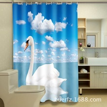 white swan 3d printing waterproof polyester shower curtains cool shower curtains for bathroom