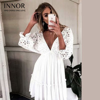 Innor Elegant v neck embroidery women dress Ruffle pleated cotton lace up summer dresses Casual sexy hollow out dress festa