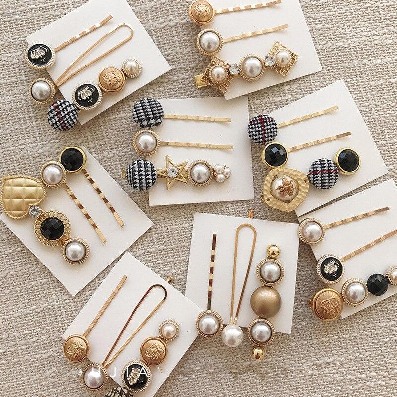 Japan Fashion Hair Accessories Cloth Button Imitation Pearl Hair Clips Metal Heart Star Vintage Hairpin Barrettes For Women Girl