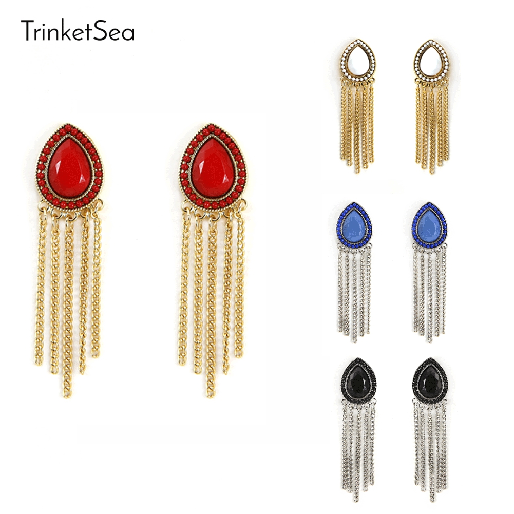 TrinketSea 2017 New Arrival Women Charm Drop Earring Drop Dangle Earrings Ear Accessories Colorful Acrylic Heart Fashion Jewelry