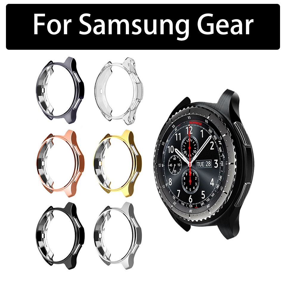 Plating Soft TPU Silicone Case Protector Full Screen Cover For samsung galax gear S3 S2 Smart Sport Watch Bracelet Cas Accessory