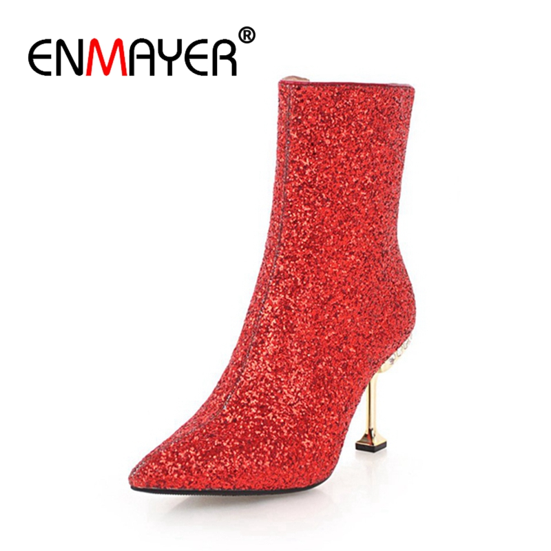 ENMAYER Ankle boots Women short boots Casual Shoes sequined cloth Black Zipper Pointed toe Thin heel Fashion Shoes Rubber CR1198ENMAYER Ankle boots Women short boots Casual Shoes sequined cloth Black Zipper Pointed toe Thin heel Fashion Shoes Rubber CR1198