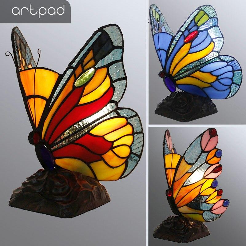 Artpad vitrais tiffany borboleta lâmpadas com eua/ue plug in e27 quarto de cabeceira led luz borboleta para mesa noite luminárias