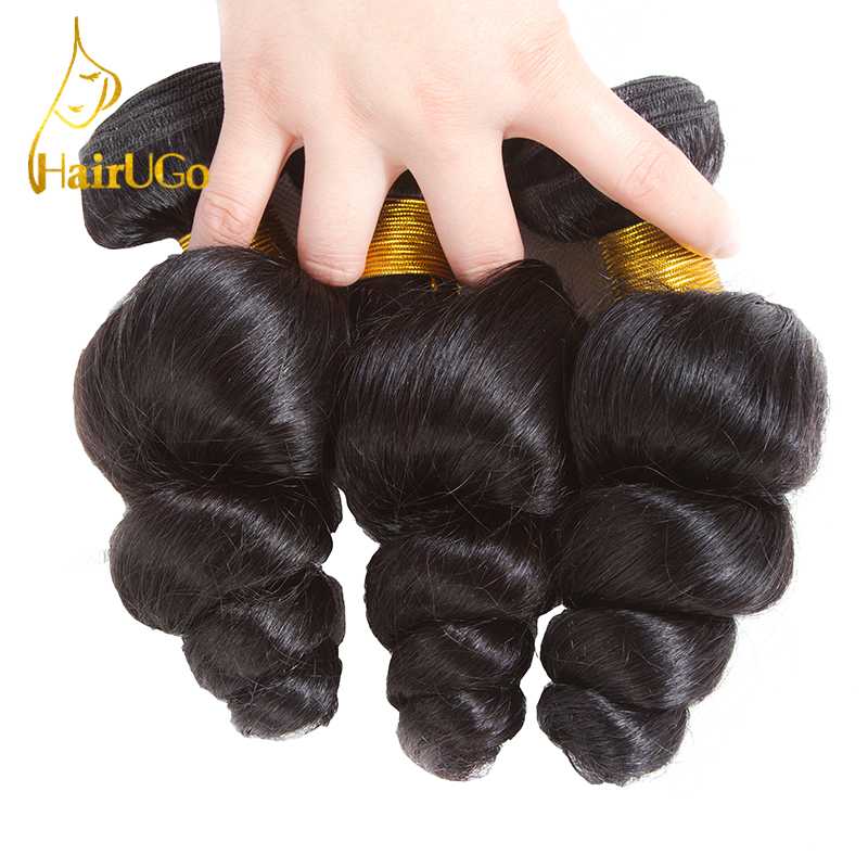 HairUGo Hair Pre-colored Hair Indian Loose Wave Hair 3 Bundles Human Hair Extensions Non Remy Free Shipping #1B