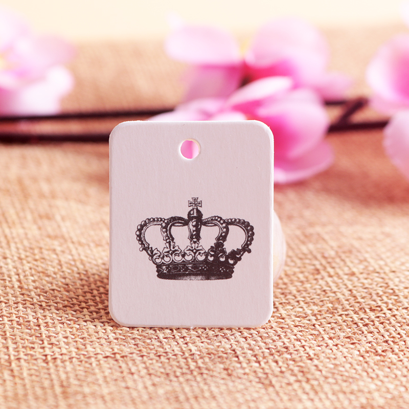Wholesale 200pcs/lot Crown Design White Paper Hang Tag 2.6x3.3CM Jewelry Clothing Price Tag Square Label Jewelry Cards