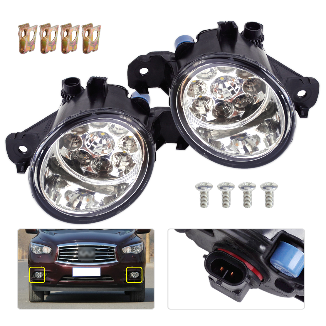 DWCX 1 Pair 12V 9 LED Front Fog Light Lamps DRL Daytime Running Driving Lights for Infiniti G37 JX35 Nissan Maxima Rogue Sentra led front fog lights for opel astra g saloon f69  1998 09 2009 car styling round bumper drl daytime running driving fog lamps