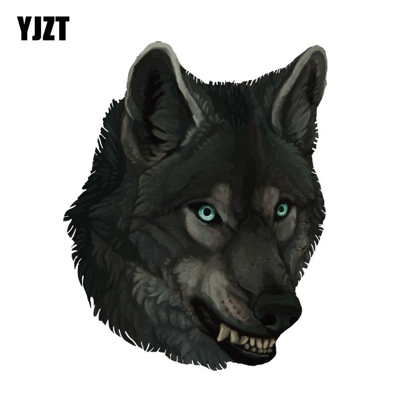 YJZT 12.3CM*15.4CM Watercolor Hand Drawn Wolf Head Decal PVC Motorcycle Car Sticker 11-00547
