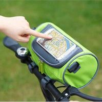 Water resistant Mountain Bicycle Bags Panniers Road Bike Front Tube Handlebar Cylinder Bag Touch Screen Cycling Phone Bag